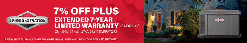 7% Off Briggs and Stratton Home Standby Generators + 7-Year Warranty at Norwall