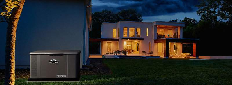 Modern Home with Briggs and Stratton Whole House Home Standby Generator