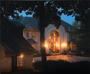 A home with electrical power during an outage supplied by a Briggs and Stratton Home Standby Generator