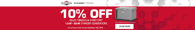 Norwall Black Friday Event: 10% Off Briggs and Stratton Stand By Generators