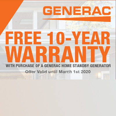 Generac Standby Generator: FREE 10-Year Warranty Offer