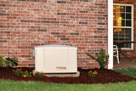 Generac Powerpact 7.5kW Home Standby Generator Installed Outside a Brick Home