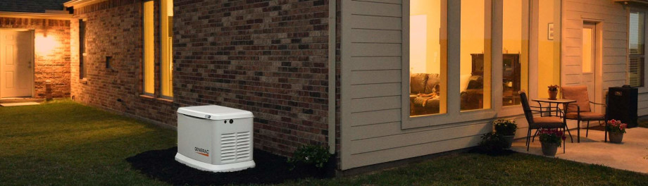 Gernerac Home Standby Generator Powering a House During an Outage