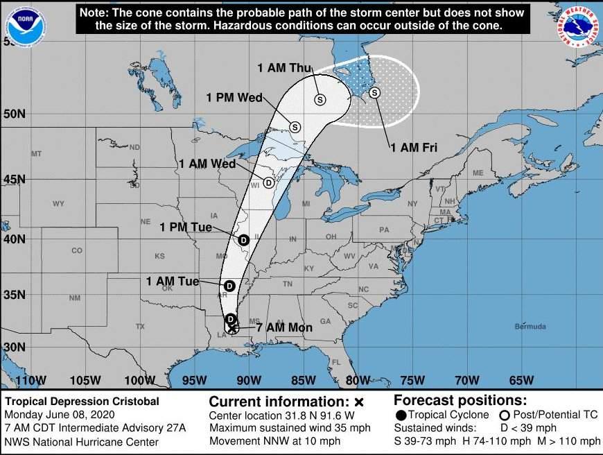 Tropical Storm Cristobal Track Through Central U.S. to Hudson Bay