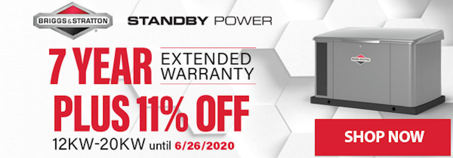 Briggs and Stratton 11 Percent Off + 7-Year Warranty Sale June 8-26, 2020