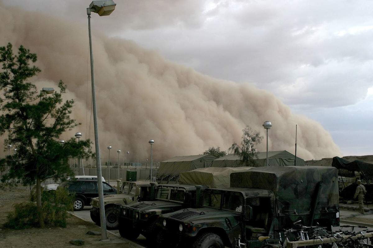 "A dust storm or ""haboob"" approaches a military camp in Iraq-2004 DOD Photo by Corporal Alicia M. Garcia USMC"
