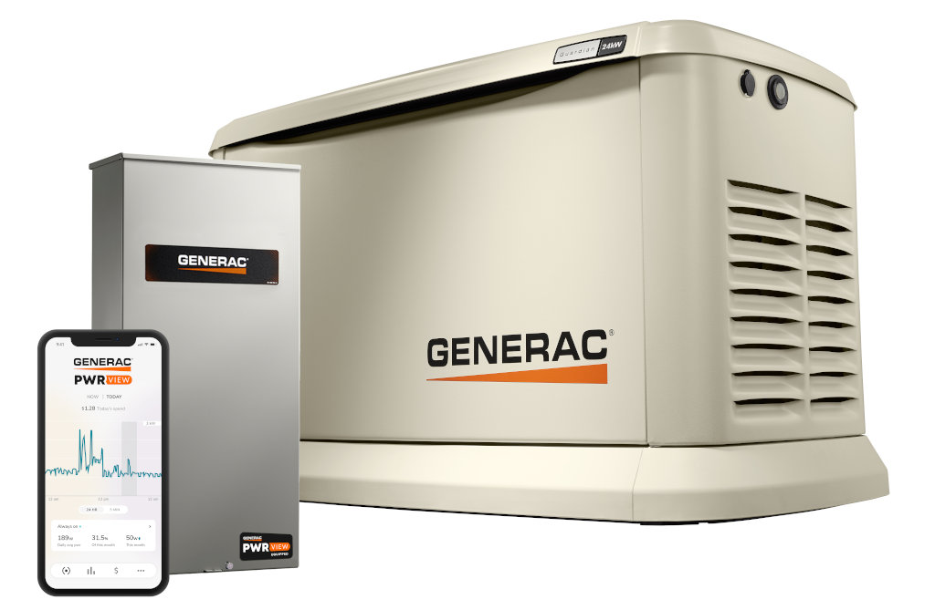 The Generac Guardian 24kW Generator with 200-Amp PWRview Whole-House Automatic Transfer Switch and PWRview Home Energy Management System