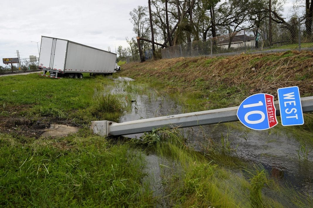 Interstate 10 Road Sigh and Truck in the Ditch