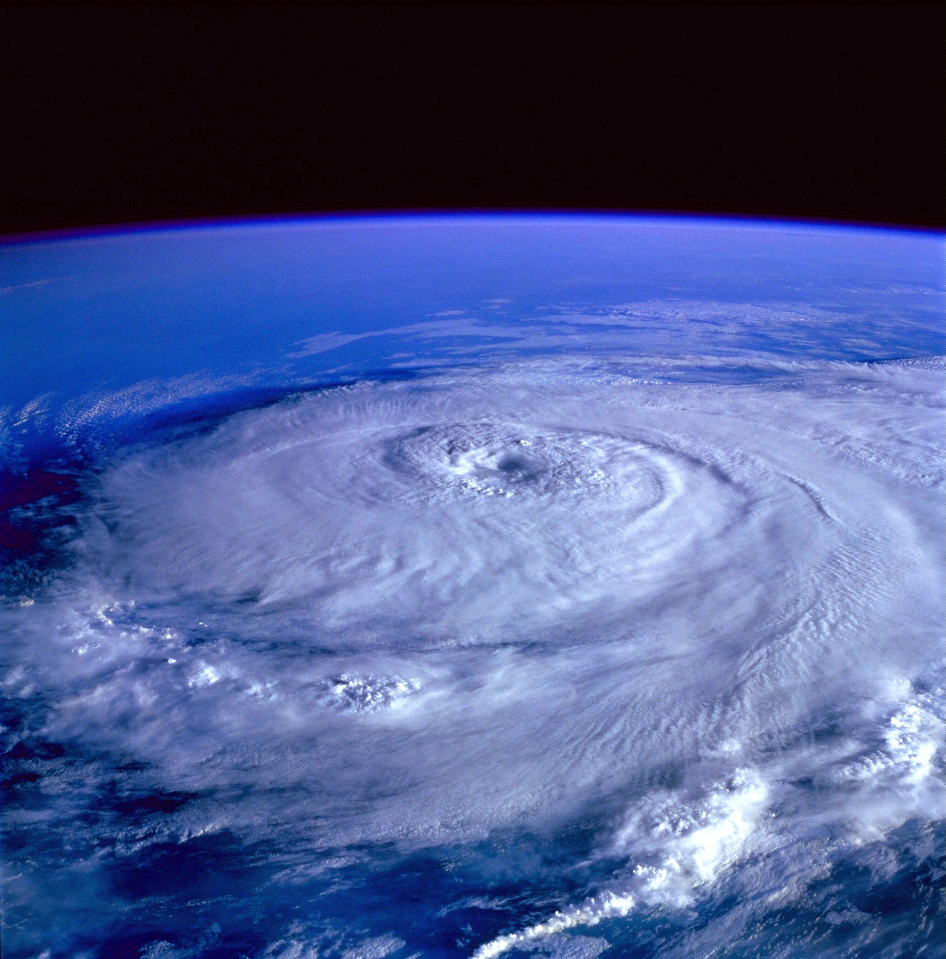 A hurricane Photograph taken from space.