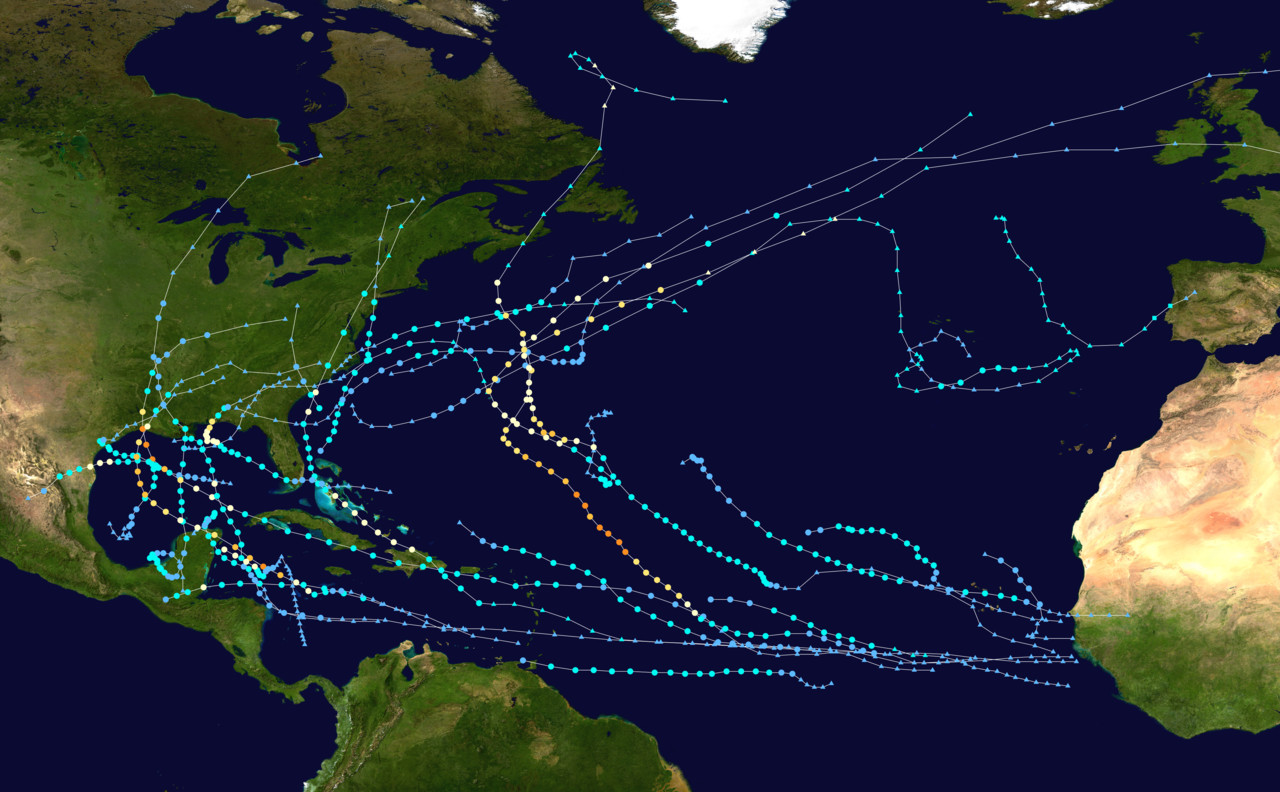 A map of the 2020 hurricane season showing storms and the paths they took before and after landfall as of October 29, 2020