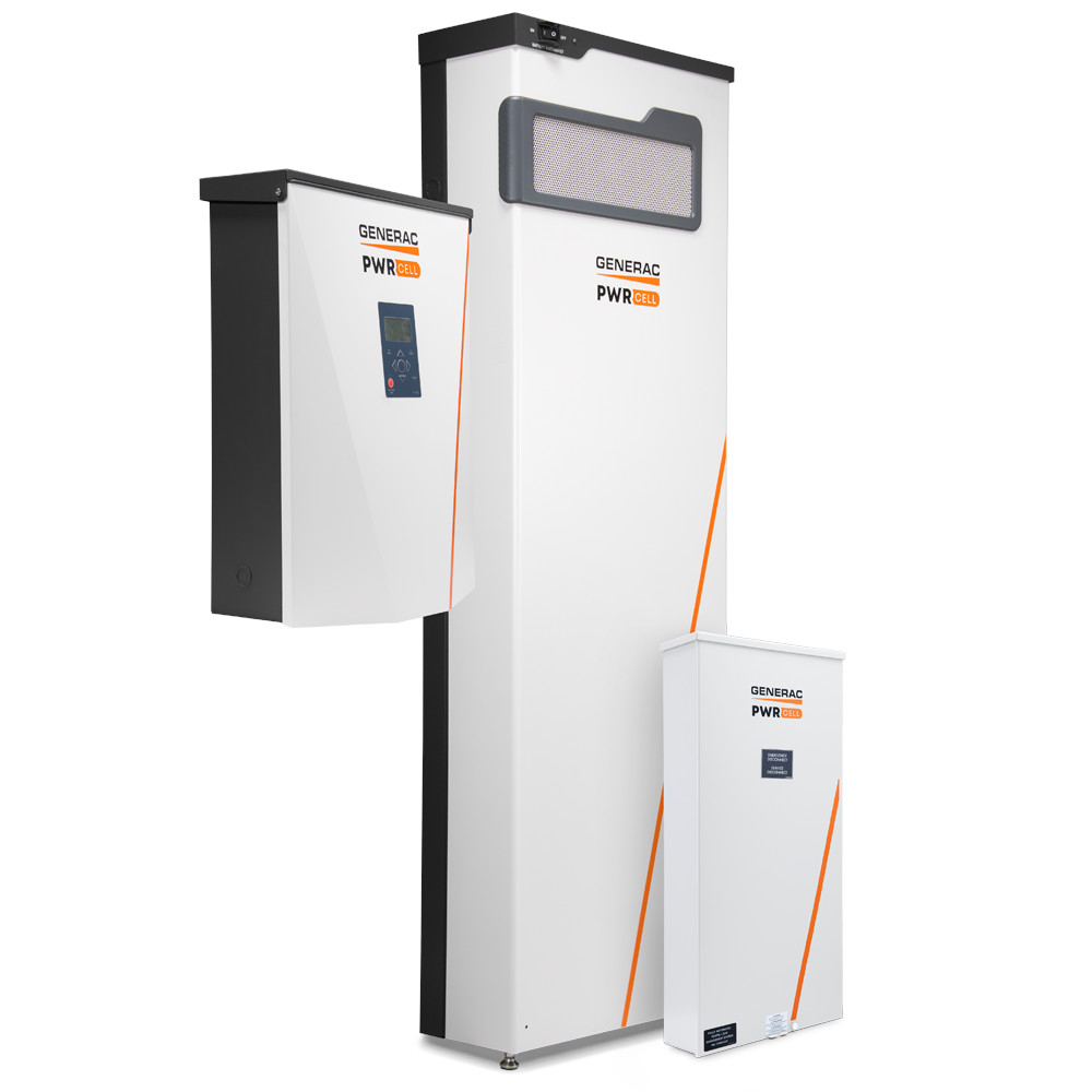 Three components of the PWRcell Solar + Battery Storage System including PWRcell Inverter, PWRcell Battery Cabinet, and PWRcell Automatic Transfer Switch