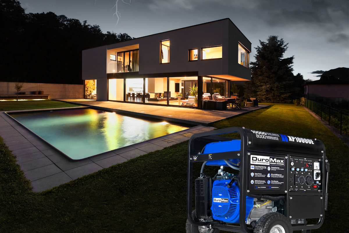 DuroMax Generator Home Backup Application Home with Swimming Pool and Lights Lightning Dark Neighbor