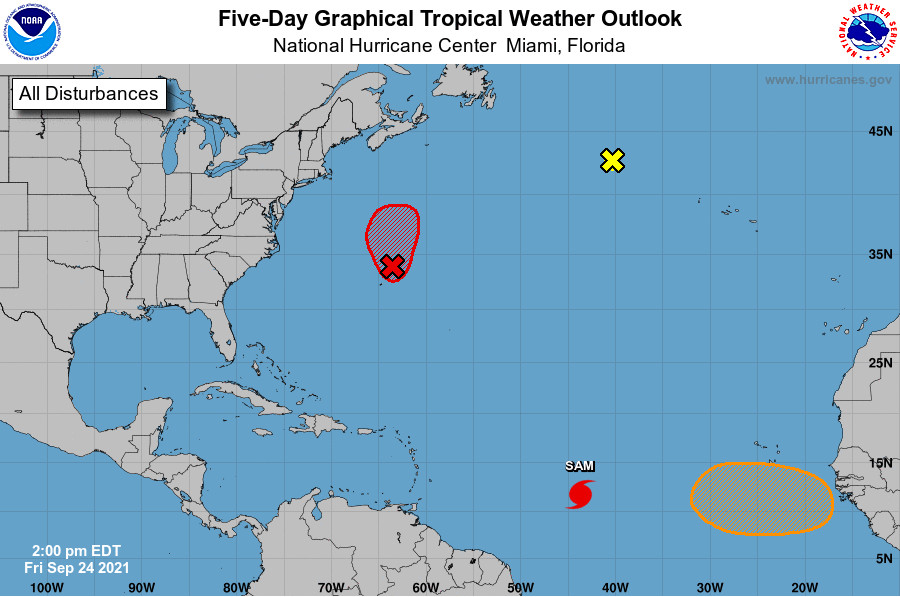 5 Day Tropical Weather Outlook from the National Hurricane Center on September 24, 2021 NHC Graphic.