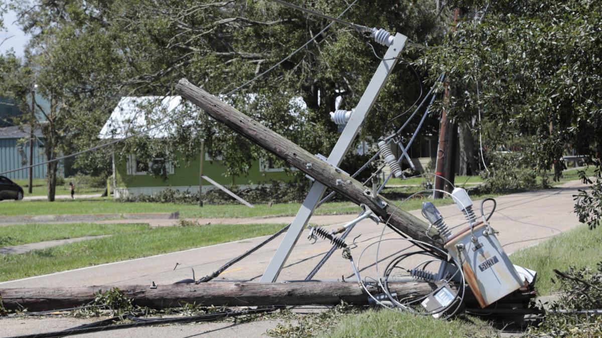 Outage Preparedness emphasize by a broken utility pole in southeast Louisiana Following Hurricane Ida.