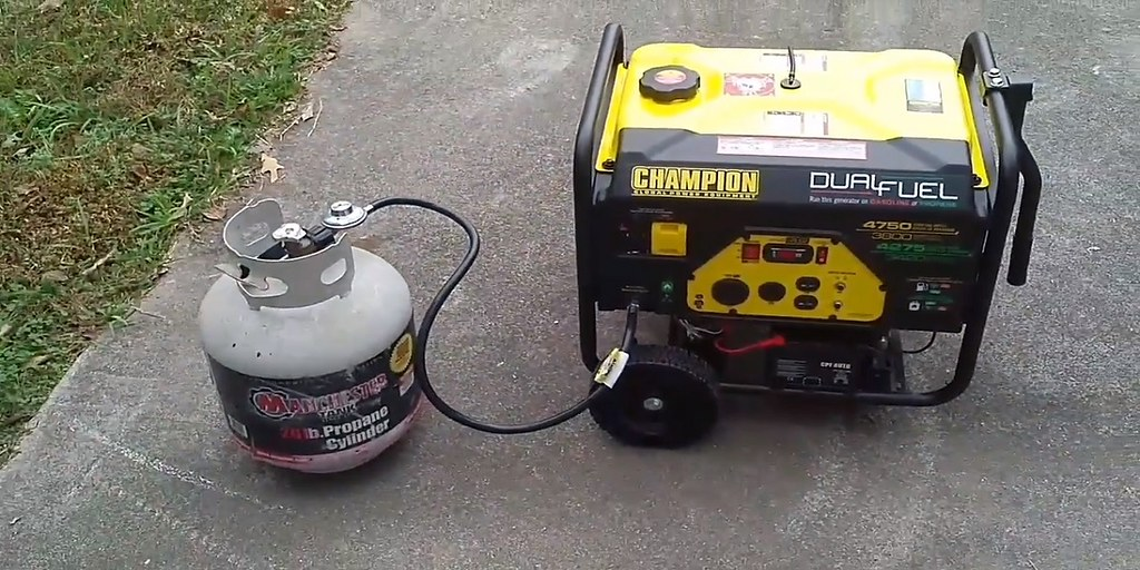Champion Dual Fuel Portable Generator with Propane Connected