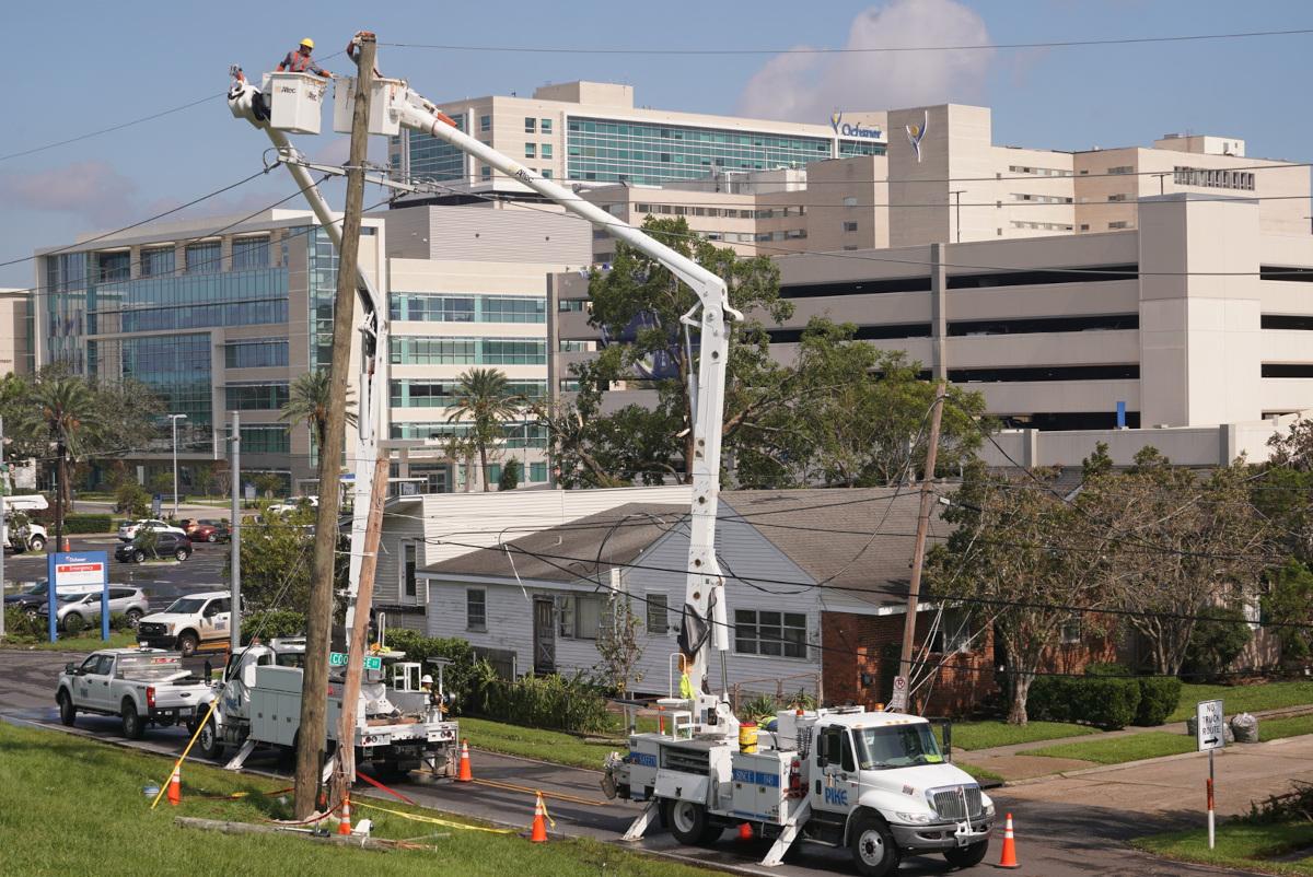 Entergy Corporation Utility Crew Works to Restore Power to Ochsner Medical Center